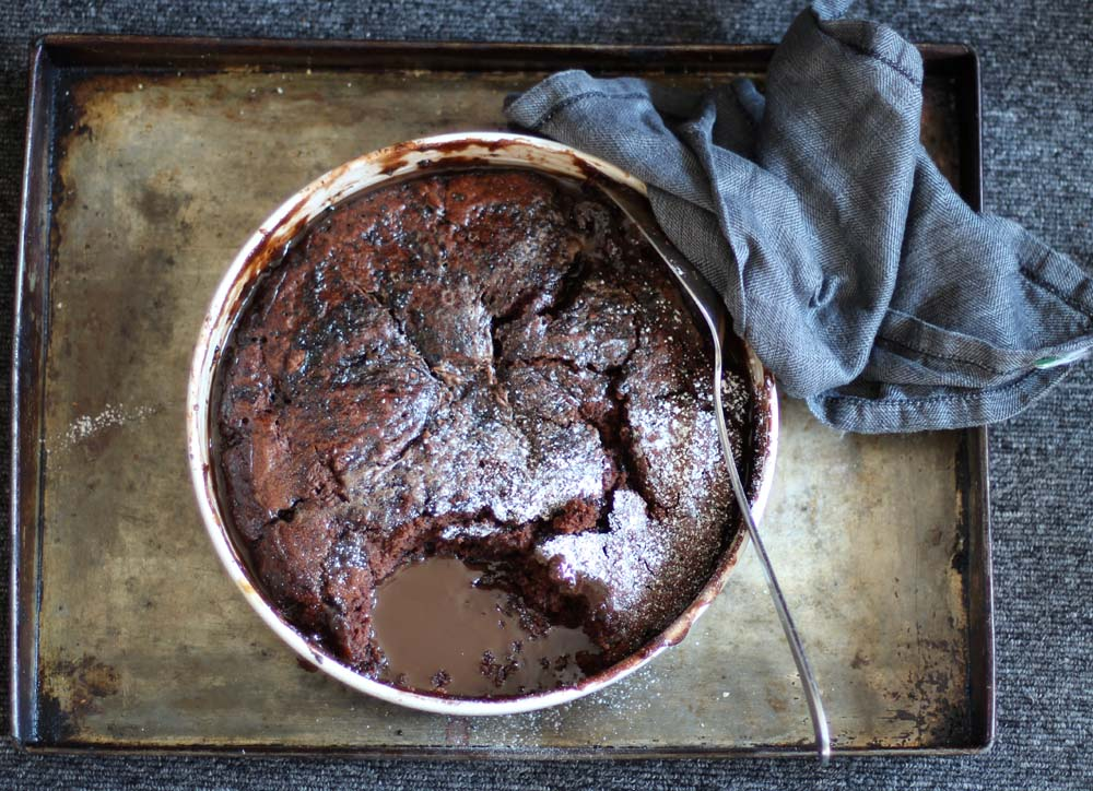 Self Saucing Pudding with chocolate and raspberries