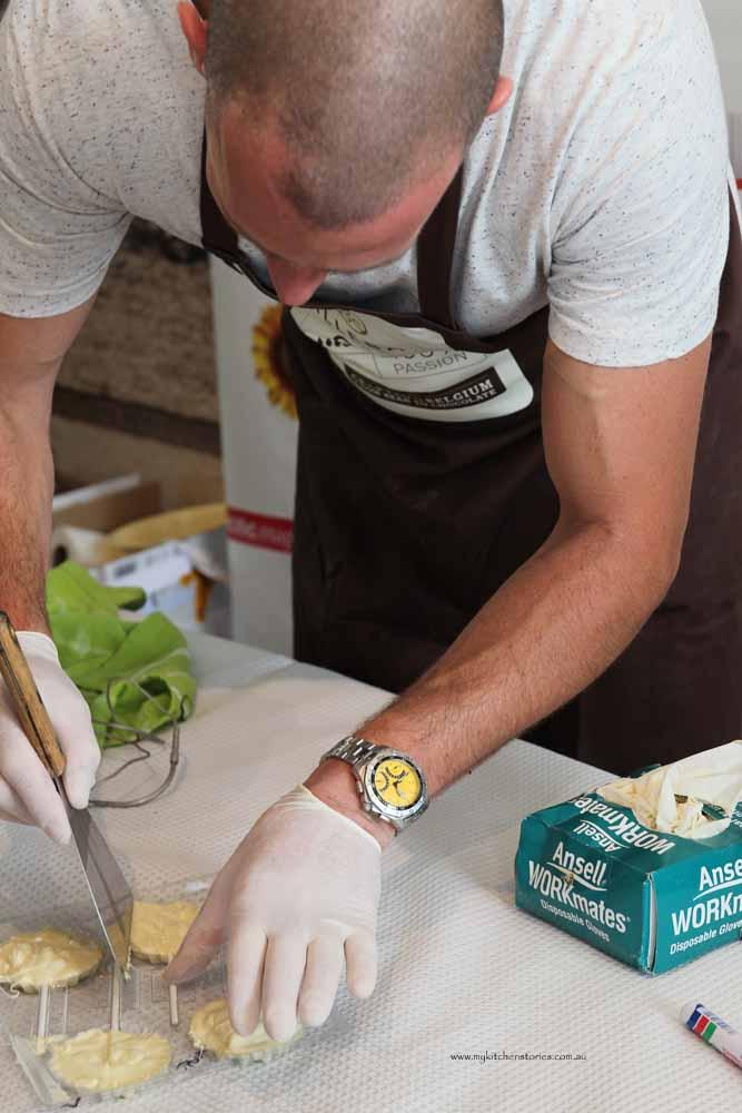 Ed making Chocolate