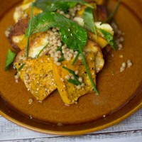 Pumpkin , Haloumi Salad with baby Kale