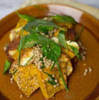 Pumpkin , Haloumi Salad with baby Kale