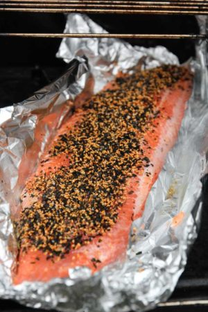 A side of salmon in foil with Wakame seasoning