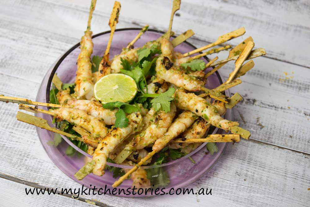 Prawnd Skewers with Coriander Lime and Palm Sugar