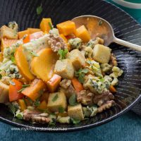 Persimmon Salad with blue cheese