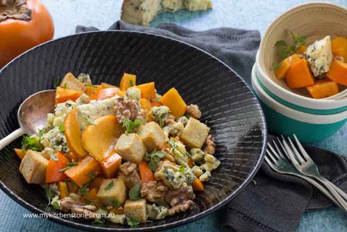 Persimmon and blue cheese salad