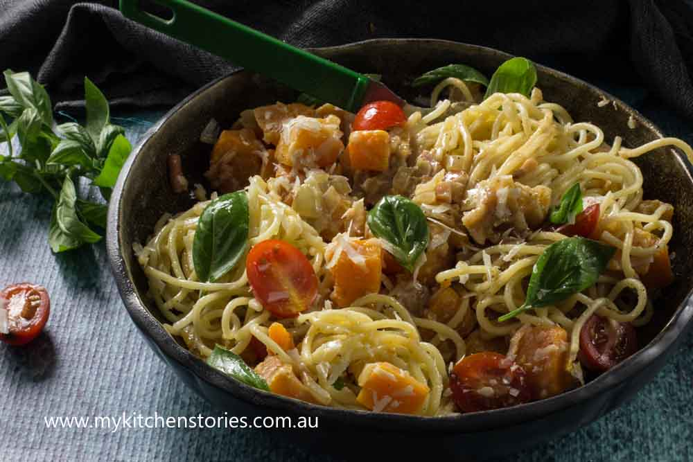Spaghettini Carbonara with Pumpkin