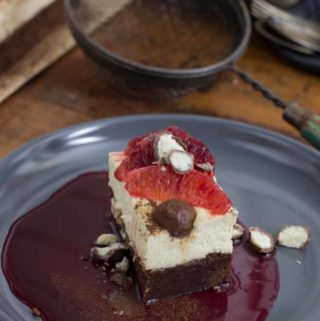 Blood Orange Brownie Cheesecake