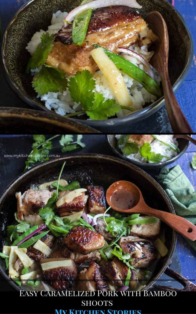 Easy Caramelised Pork Belly in a pot on the stove