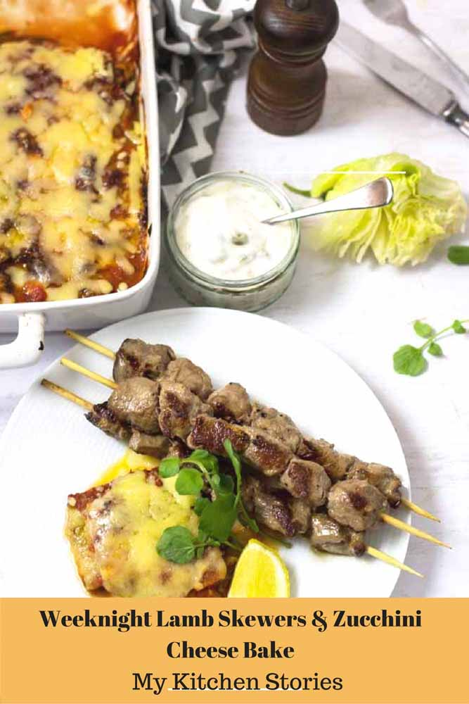 Lamb Skewers zucchini cheese in a baking dish