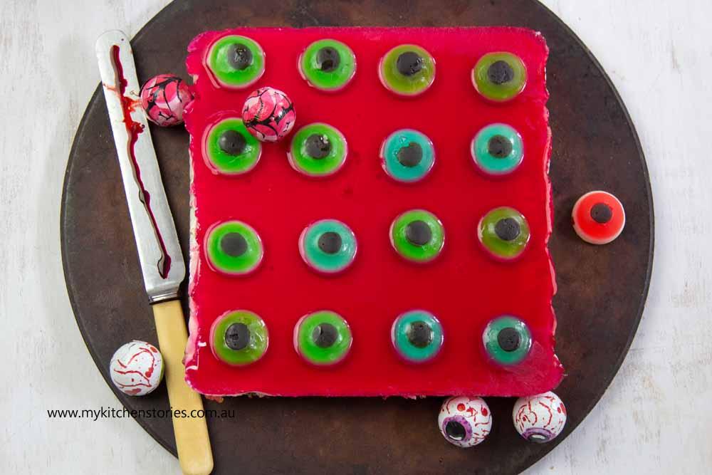 Halloween Eyeball Slice with Raspberry Jelly