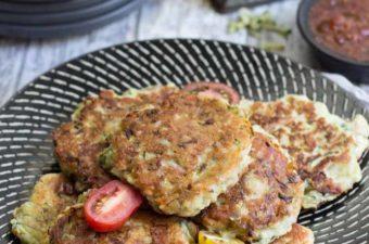 Ham Zucchini Ricotta Fritters