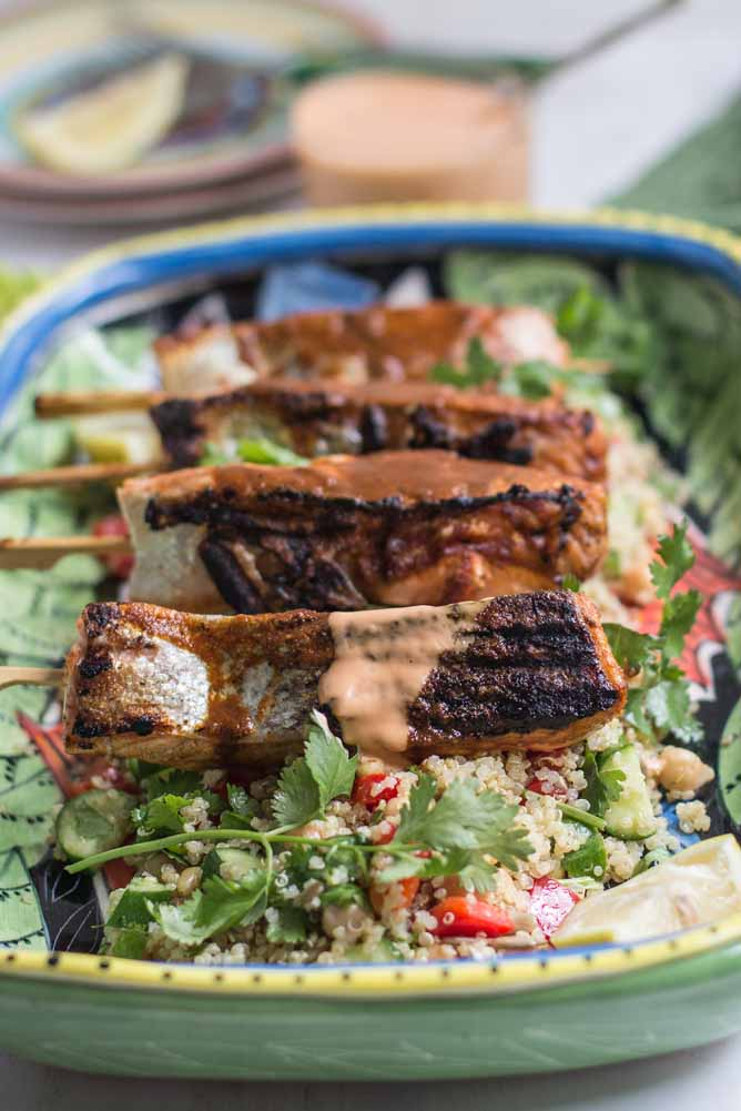 Spiced Salmon Skewers