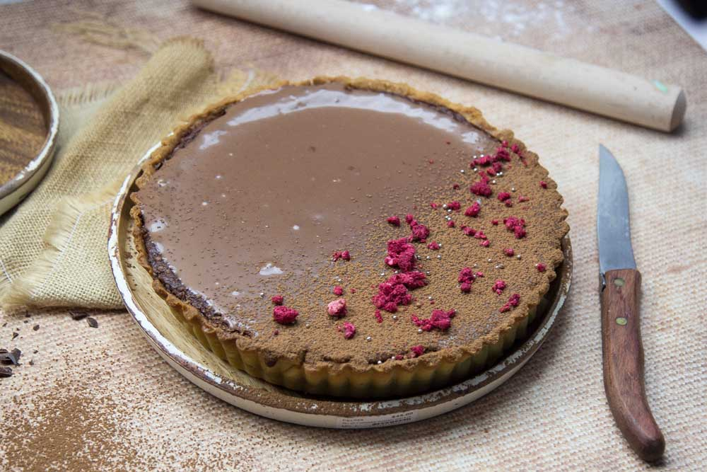 Chocolate Mousse tart with freeze dried raspberries