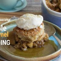 Apple Caramel pudding in a blue baking dish with ice cream piled on the top