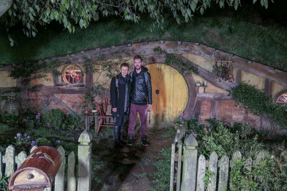 Our last picture at nightime Hobbiton