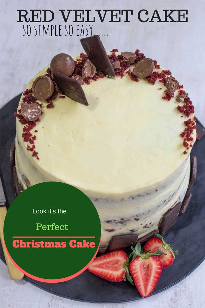 Christmas Cake.Red Velvet Cake Simple Easy Christmas Cake