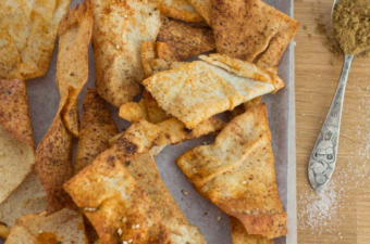 Lebanese Bread Crisps on a tray