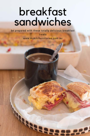 Breakfast sandwiches with coffee
