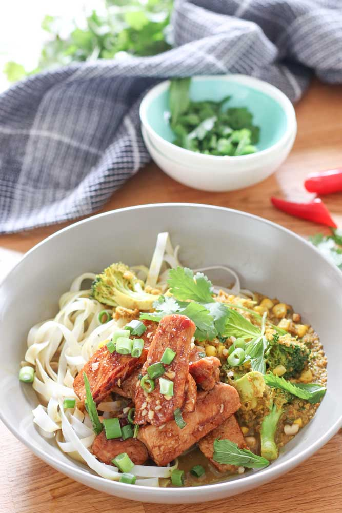 Chilli Caramel Pork Noodle Bowls with Corn and Brocolli