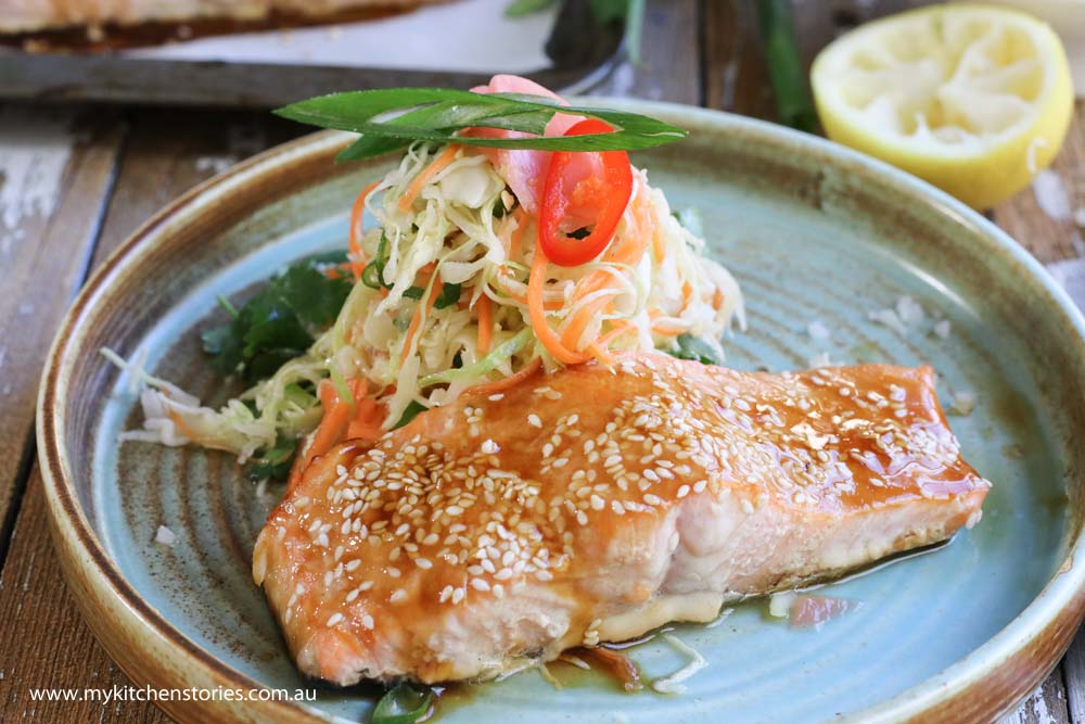 Salmon teriyaki with salad