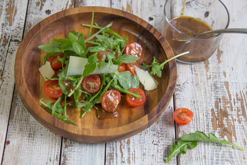 Mustardy Balsamic Dressing with tomatoes