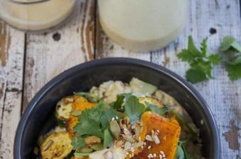 Tahini emon Dressing with Pumpkin Salad