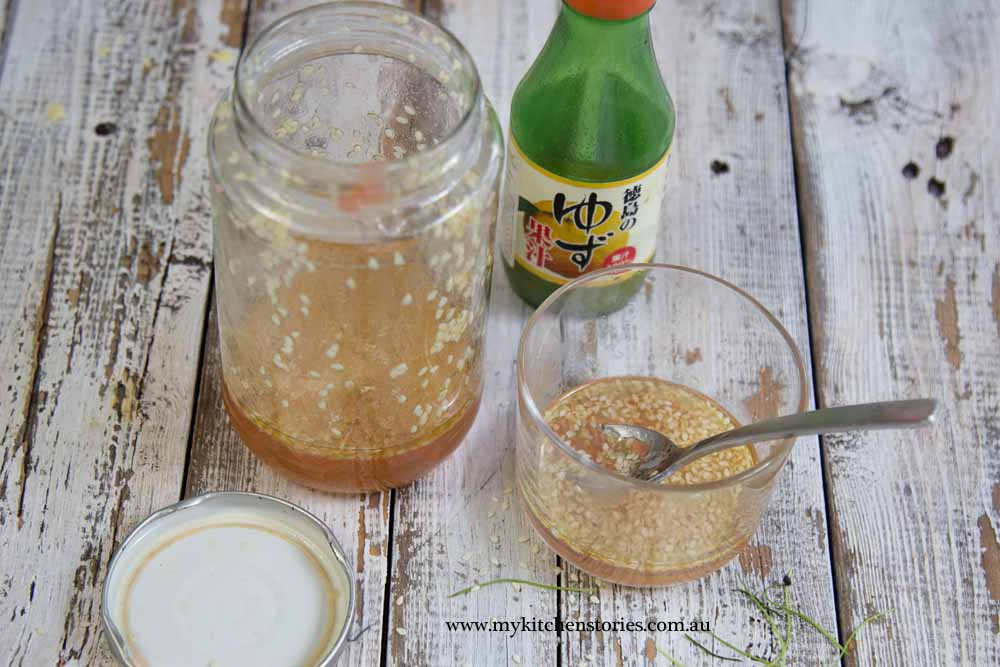 Yuzu sesame dressing in a jar