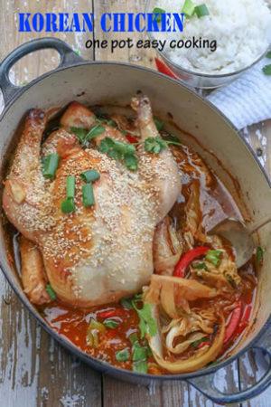 Korean one po chicken in a blue pot