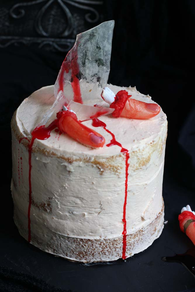 Severed Finger Cake with strawberry buttercream