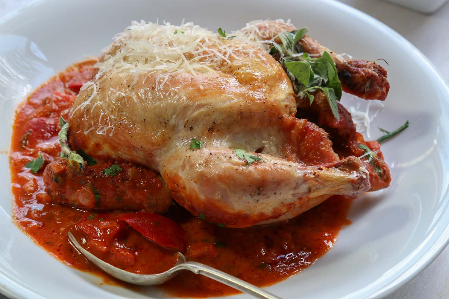 Italian Chicken with oregano and cheese.