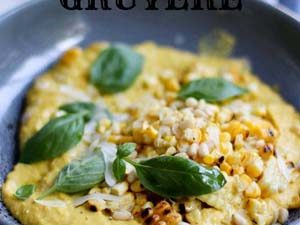 Corn and gruyere puree with basil
