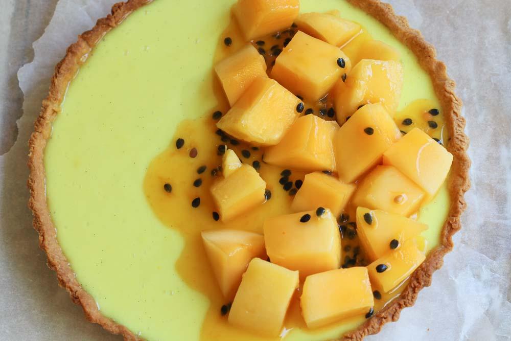 Vegan lemon tart with passionfruit