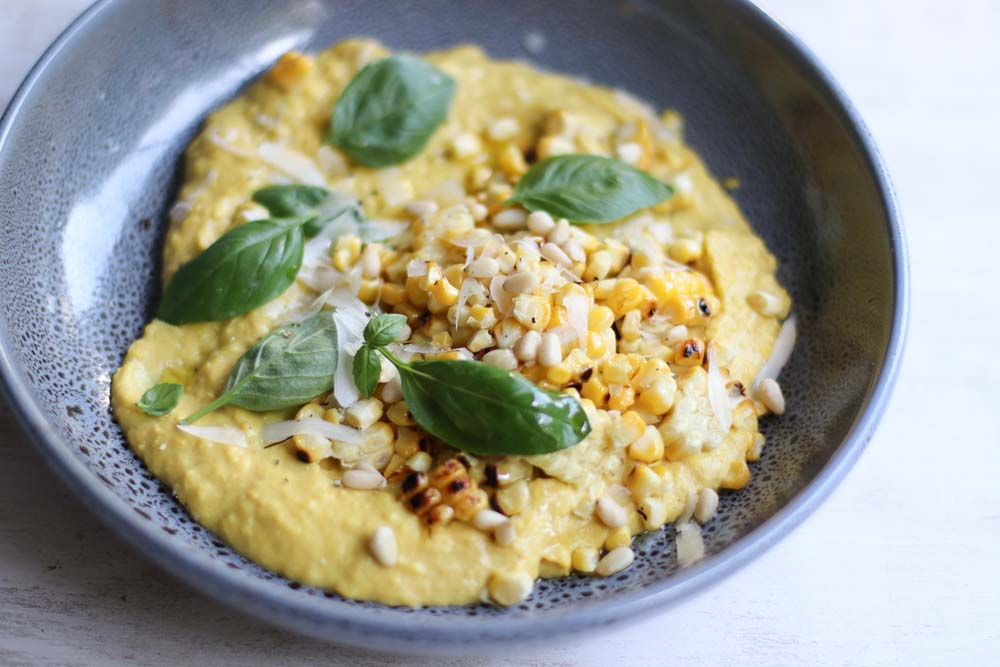 Whipped corn with pinenuts and gruyere