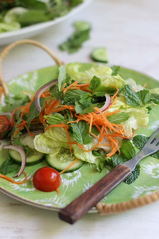 Vietnamese salad with simple pickled carrots