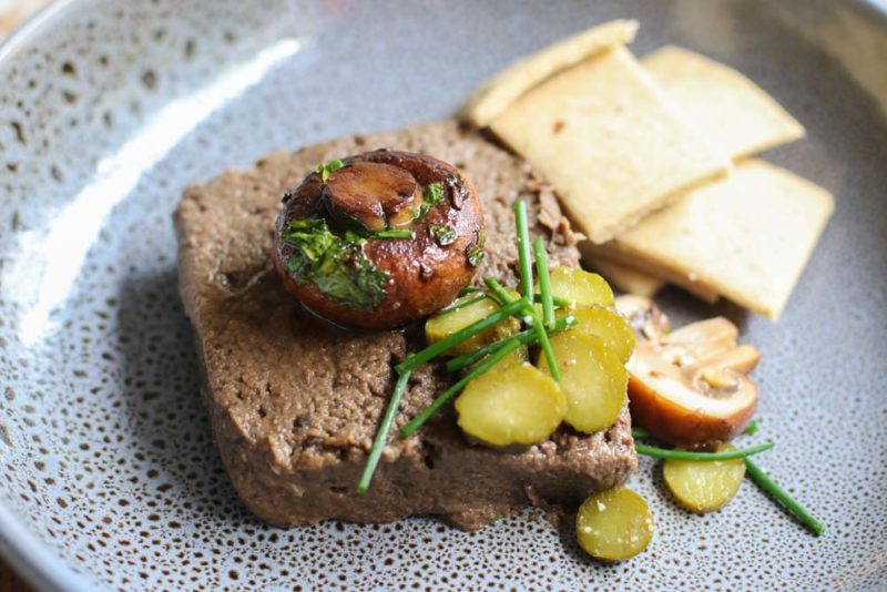 Mushroom Pate with Crackers and cornichons