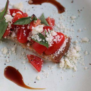 Tomato Bruschetta with olive oil powder