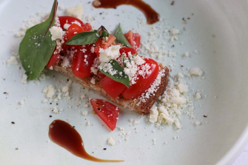 Tomato Bruschetta with olive oil powder