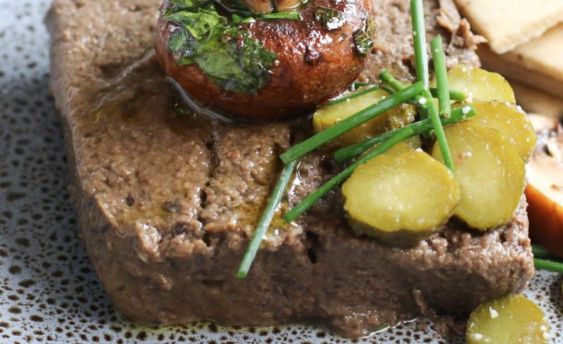 Mushroom pate with gherkins and chives