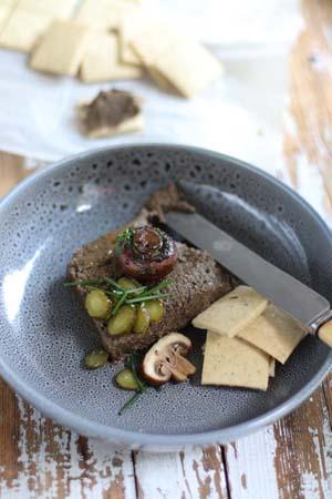 Mushroom pate with gluten free crackers