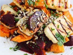 Haloumi, beetroot and pumpkin salad MyKitchenStories