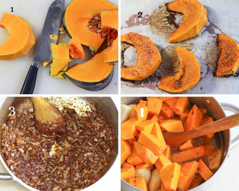 Pumpkin Souup Ingredients including spices and roasted pieces