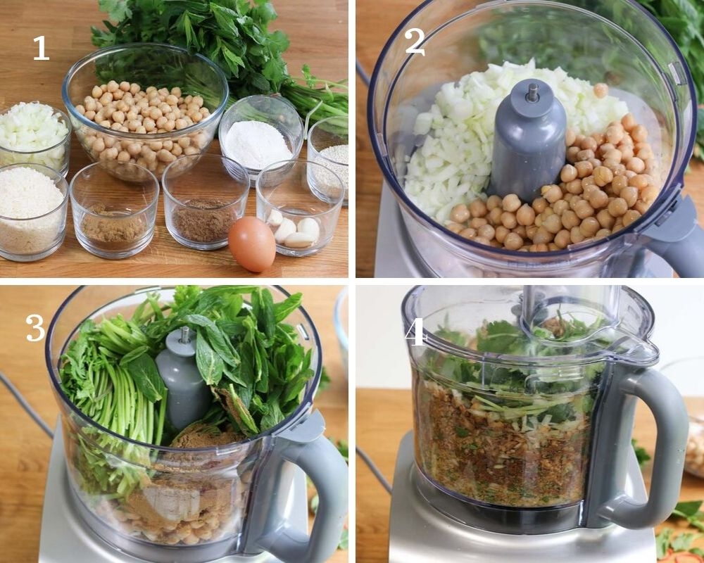Ingredients and steps to making falafel patties