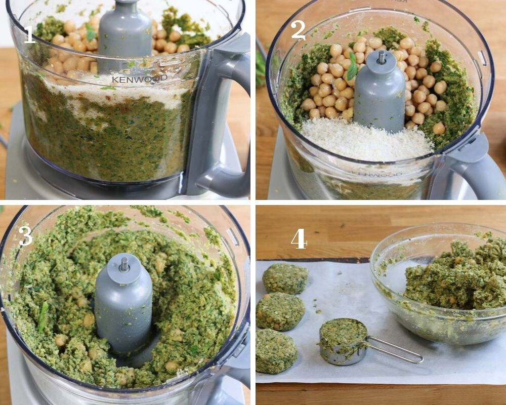 Greeen falafel pattie mix in the food processor