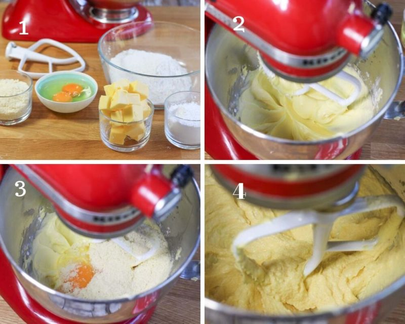 Stage 1 of mixing up a shortbread pastry