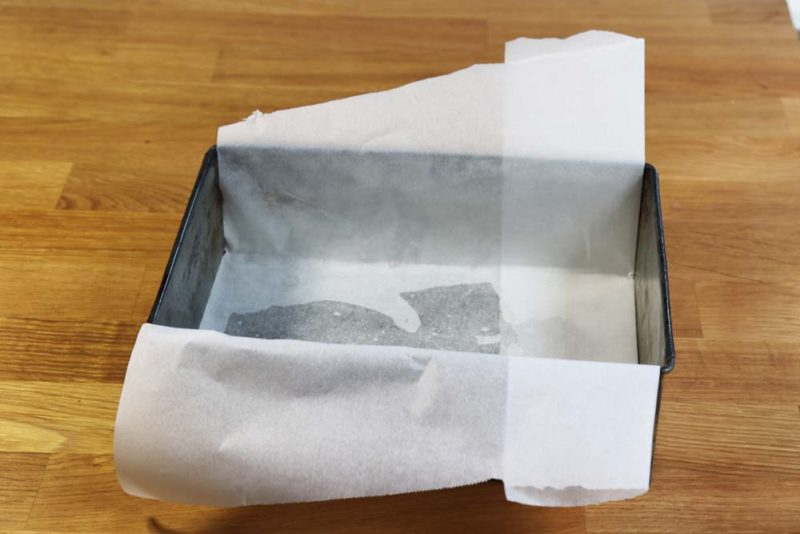 a rectangular cake tin is great for this cake