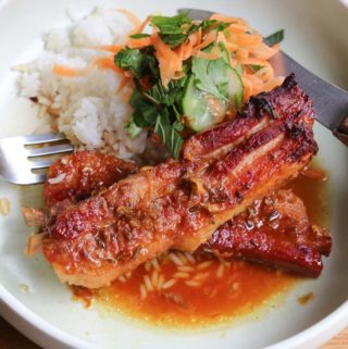 Sweet and Sour Pork rashers baked in sticky sauce