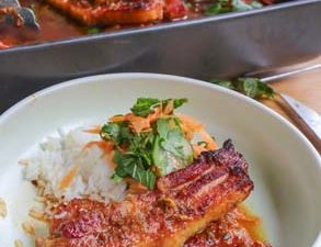 Sweet and sour pork rashers with rice and sweet and sour