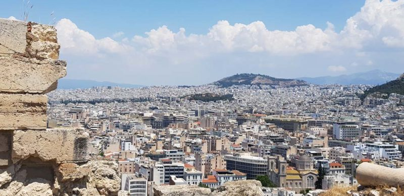 A picture from the top of the Acropolis out over the city of Athens