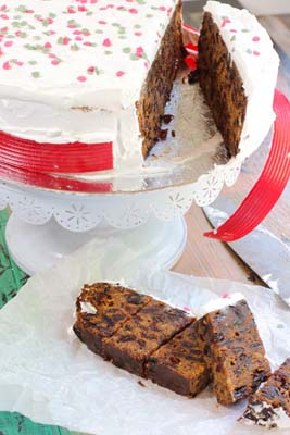 Christmas cake sliced open with white icing and decorations