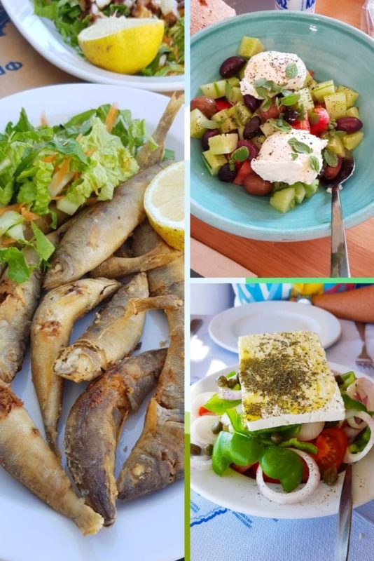 A selection of fresh greek salads