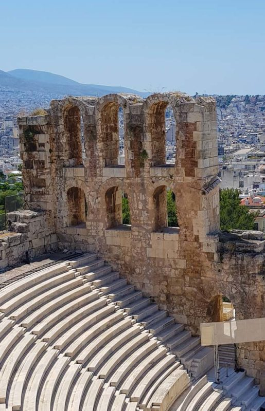 The Ampitheatre beneath The Acropolis with a view over Athens